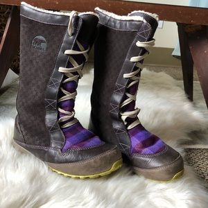 Sorel Suede and Plaid Snow Boots